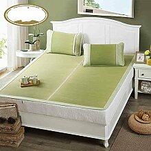 uus Sommer-Algen-Matte Dreiteilige Doppelbett Verdickung zusammenklappbare Rush-Matte Klimaanlage Matte Bett Blatt Kissenbezüge ( größe : 1.8m (6 feet) )