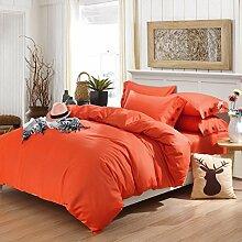 uus Verdickung Bett Vierteilige Einfarbig Schöne Herbst Und Winter Bettwäsche Bettwäsche * 1 Quilt * 1 Kissenbezug * 2 Vier Stück Geeignet Für 1,5 Mt Bett ( Farbe : O )