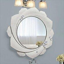 Uus Wasserdichte 3D Elegante Blumen Relief Harz Spiegel Badezimmer Luxus Club Spiegel Schönheitssalon Wandspiegel Moderne Einfache Anti - Fog Silber Spiegel (Farbe : Weiß)