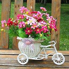 UUU Vase Fahrradform Blumenkorb Rattan Vase