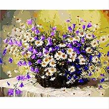 UWKDEK Lila Weiß Chrysantheme Wohnzimmer