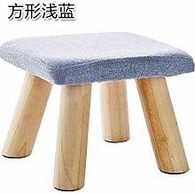 UWSZZ Home - Einfache Massivholz Wohnzimmer Hocker kleine Sitzbank kleine quadratische Hocker erwachsene Kinder aus Baumwollgewebe sofa Bank schuh Sitzbank Platz: Hellblau
