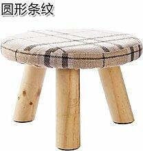 UWSZZ Home - Einfache Massivholz Wohnzimmer Hocker kleine Sitzbank kleine quadratische Hocker erwachsene Kinder aus Baumwollgewebe sofa Bank schuh Bank Rund: Streifen