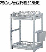 UWSZZ Multifunktionale rack Doppel Besteck Lagerung Lagerung trocken Abtropfbrett Abtropfbrett Küche Bodenablauf Grau kleine Doppelzimmer Fach mit Stäbchen