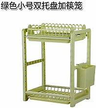 UWSZZ Multifunktionale rack Doppel Besteck Lagerung Lagerung trocken Abtropfbrett Abtropfbrett Küche Bodenablauf Grün Trompete 1 Fach mit Stäbchen