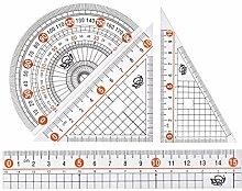 uxcell Messwerkzeug Set mit Winkelmesser 30/60 45