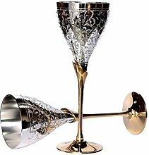 uzech Pure Versilbert Gravur Premium Goblet Champagner Flöten Coupes Weinglas Party Glas Set Esstisch Set Besteck Business Geschenk, Hand Engraved Wine Glass