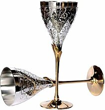 uzech Pure Versilbert Gravur Premium Goblet Champagner Flöten Coupes Weinglas Party Glas Set Esstisch Set Besteck Business Geschenk, versilbert, silber, Sleek Finish Glasses