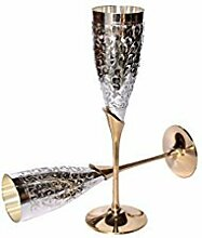 uzech versilbert Gravur reinem Messing Premium Goblet Champagner Flöten Coupes Weinglas-Set von 2Esstisch Set Besteck Unternehmen Geschenk