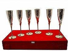 uzech versilbert Royal Messing Weinglas-Set von 6Esstisch Set Besteck Unternehmen Geschenk