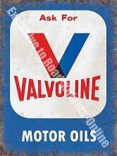V für Valvoline. Motor Öle. Blau, rot und weiß logo. Alt retro vintage Für haus, heim, verbindung, pub, garage oder Geschäft. Metall/Stahl Wandschild - 30 x 40 cm