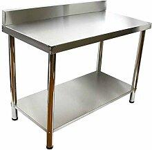 V2A Edelstahl Tisch Gastronomie Grilltisch mit Aufkantung 100 x 50 cm 85 cm hoch