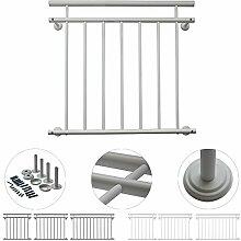 V2Aox Französischer Balkon Geländer Balkongeländer 90 x 100-156 cm Schwarz Weiß, Farbe:Weiß;Größe:156 x 90 cm