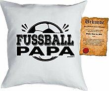 Väter/Deko-Kissen inkl. Spaß-Urkunde Thema Sport: Fussball Papa tolle Geschenkidee