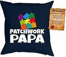 Väter/Deko-Kissen/Sofa-Kissen m. Füllung +Spaß-Urkunde: Patchwork Papa Geschenkidee/Geburtstag/Vatertag