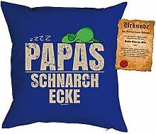 Väter/Deko-Kissen/Sofa-Kissen m. Füllung +Spaß-Urkunde: zzzz? Papas Schnarch Ecke Geschenkidee/Geburtstag/Vatertag