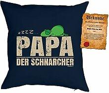 Väter/Deko-Kissen/Sofa-Kissen m. Füllung +Spaß-Urkunde: zzzz? Papa der Schnarcher Geschenkidee/Geburtstag/Vatertag