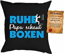 Väter/Deko-Kissenbezug ohne Füllung inkl. Spaß-Urkunde Thema Sport: Ruhe Papa schaut Boxen tolle Geschenkidee