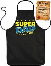 Väter-Fun/Geburtstags/Jahrgangs/Grill-Kochschürze + Spaß-Urkunde: Super Dad since 1957 Geschenkidee