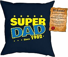 Väter-Geburtstags/Jahrgangs-Kissen/Deko Kissen mit Füllung+ Spaß-Urkunde: Super Dad since 1982 - geniale Geschenkidee