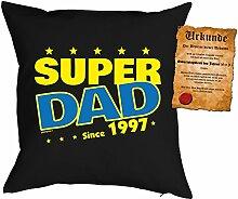 Väter-Geburtstags/Jahrgangs-Kissen/Deko Kissen mit Füllung+ Spaß-Urkunde: Super Dad since 1997 - geniale Geschenkidee