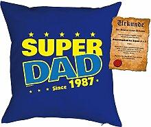 Väter-Geburtstags/Jahrgangs-Kissen/Deko Kissen mit Füllung+ Spaß-Urkunde: Super Dad since 1987 - geniale Geschenkidee