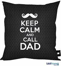 Väter Tag Geschenk Keep Calm and Call Dad Fathers Day Schnurrbart Design schwarz, hergestellt in Yorkshire tolle Geschenkidee für Dad