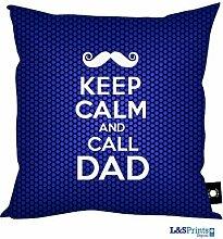 Väter Tag Geschenk Keep Calm and Call Dad Schnurrbart Väter Tag Design Blau, hergestellt in Yorkshire tolle Geschenkidee für Dad