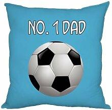 Väter Tag Geschenk Number 1Dad Fußball-Design hellblau, hergestellt in Yorkshire tolle Geschenkidee für Dad