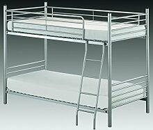 Vaja Etagenbett Hochbett Metall silberfarbig 90x200