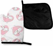 Valentine Flamingo Pink Zoo Mikrowelle Handschuhe