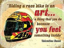 Valentino Rossi Helm, Racing Spruch, Rennrad Metall/Stahl Wandschild - 20 x 30 cm