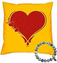Valentinstag Geschenk Set Deko Kissen Herz Fimo Perlen Armband Valentinstagsgeschenk für Sie Ihn Frauen und Männer Farbe:gelb