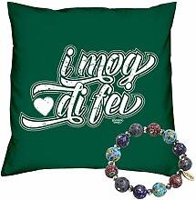 Valentinstag Geschenk Set Deko Kissen I mog di fei Farbe: dunkelgrün und Fimo Armband Valentinstagsgeschenk für Sie und Ihn Frauen und Männer