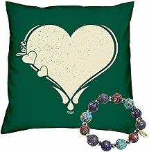 Valentinstag Geschenk Set Deko Kissen Love Herz Farbe: dunkelgrün und Fimo Armband Valentinstagsgeschenk für Sie und Ihn Frauen und Männer