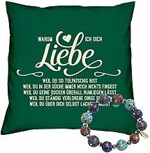 Valentinstag Geschenk Set Deko Kissen Warum ich Dich liebe Farbe: dunkelgrün und Fimo Armband Valentinstagsgeschenk für Sie und Ihn Frauen und Männer