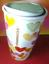 Valentinstag Geschenk. Starbucks 2015Tumbler Becher Wasser Farbe Herzen doppelwandig Traveler NBC Herz Blumig, 10oz/296ml, Limited Edition, NEU