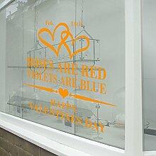 Valentinstag Herz Rosen sind rot Wand & Fenster Aufkleber Shop Fenster Display Love Decor Aufkleber Shop NEW DIY Wand Fenster Wand Decor Wall Sticker Wall Art Aufkleber Aufkleber Aufkleber Aufkleber Wandbild Décor DIY Deco Abnehmbare Wandaufkleber Colorful Aufkleber, Vinyl, Orange, Large-Reverse-Prin