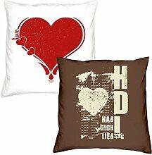 Valentinstag Kissen für Sie und Ihn Geschenkidee im 2er Pack Herz Hab Dich lieb Geburtstagsgeschenk