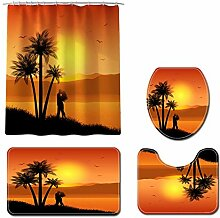Valentinstag Sonnenuntergang Strand Duschvorhang