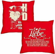 Valentinstagsgeschenk Deko Kissen Set Hab Dich lieb in rot Warum ich Dich liebe in rot Geschenk für Sie und Ihn Frauen Männer