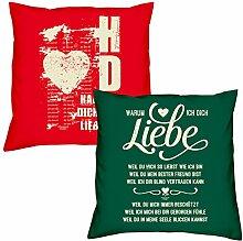 Valentinstagsgeschenk Deko Kissen Set Hab Dich lieb in rot Warum ich Dich liebe in dunkelgrün Geschenk für Sie und Ihn Frauen Männer