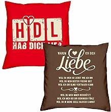 Valentinstagsgeschenk Deko Kissen Set HDL Hab Dich lieb in rot Warum ich Dich liebe in braun Geschenk für Sie und Ihn Frauen Männer