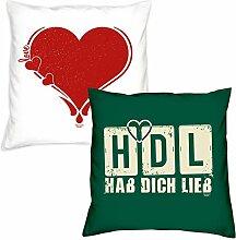 Valentinstagsgeschenk Deko Kissen Set Herz in weiss HDL Hab Dich lieb in dunkelgrün Geschenk für Sie und Ihn Frauen Männer