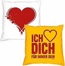 Valentinstagsgeschenk Deko Kissen Set Herz in weiss Ich liebe Dich in gelb Geschenk für Sie und Ihn Frauen Männer