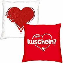 Valentinstagsgeschenk Deko Kissen Set Herz in weiss kuscheln in rot Geschenk für Sie und Ihn Frauen Männer