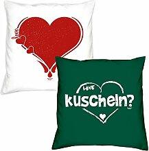 Valentinstagsgeschenk Deko Kissen Set Herz in weiss kuscheln in dunkelgrün Geschenk für Sie und Ihn Frauen Männer