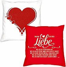 Valentinstagsgeschenk Deko Kissen Set Herz in weiss Warum ich Dich liebe in rot Geschenk für Sie und Ihn Frauen Männer