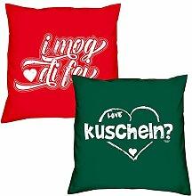 Valentinstagsgeschenk Deko Kissen Set I mog di fei in rot kuscheln in dunkelgrün Geschenk für Sie und Ihn Frauen Männer