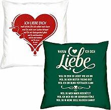 Valentinstagsgeschenk Deko Kissen Set Ich liebe Dich in weiss Warum ich Dich liebe in dunkelgrün Geschenk für Sie und Ihn Frauen Männer